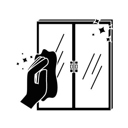 布ベクトル イラスト デザインで窓を拭く手 写真素材 - 88185022