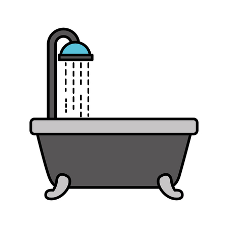 badkuip douche schone hygiëne interieur keramische pictogram vectorillustratie