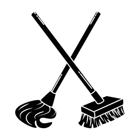 mop en brush icon vector illustratie ontwerp Stock Illustratie