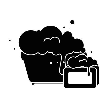 plastic pot with foam and bar soap vector illustration design