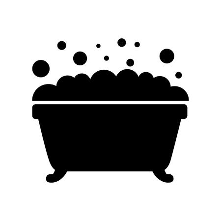 badkuip schuim bubbels schone hygiëne interieur keramische pictogram Stock Illustratie