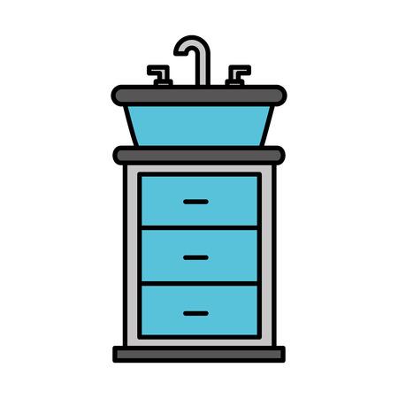 bathroom interior with sink vanity cabinet furniture drawers vector illustration Imagens - 88186797