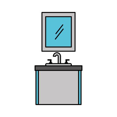 バスルーム シンク洗面化粧台キャビネット家具ベクトル イラスト インテリア ミラー