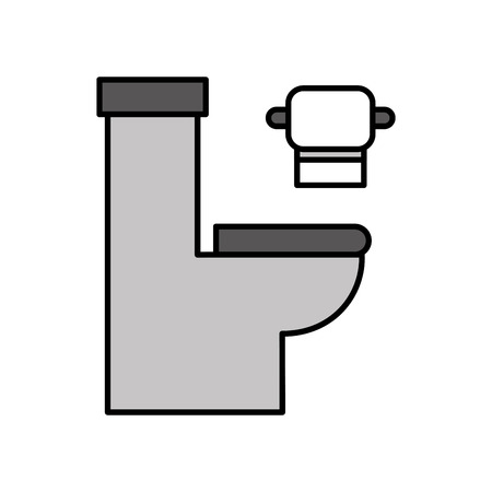 toilet bowl with paper hygienic equipment bath cartoon icon vector illustration