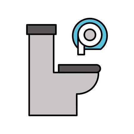 トイレ ボウルとディスペンサー紙機器お風呂のアイコン ベクトル図  イラスト・ベクター素材