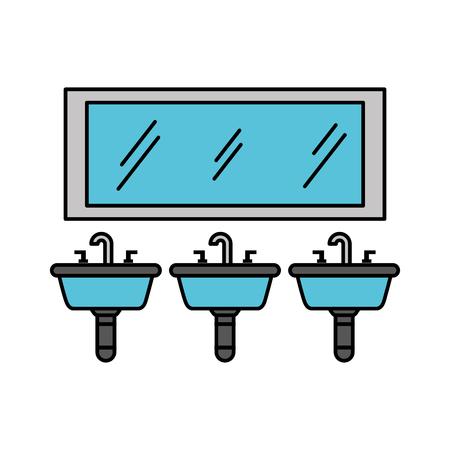 トイレ浴室機器ベクトル図の 3 つのシンク ミラー
