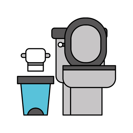toilet bowl trash can and paper equipment bath cartoon vector illustration