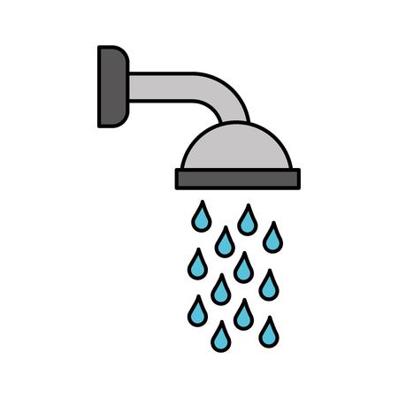 Soffione doccia in bagno con gocce d & # 39 ; acqua che scorre illustrazione vettoriale Archivio Fotografico - 88185372