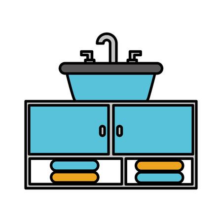 トイレ浴室セラミック ベクトル図のホームのシンク タオル
