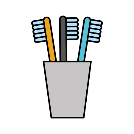 tooth brushes in glass clean bath dent design vector illustration Illusztráció