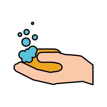 浴室手シャボン玉衛生ベクトル図  イラスト・ベクター素材