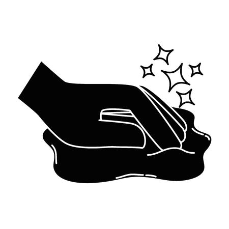Hand afvegen met doek vector illustratie ontwerp Stockfoto - 88186950