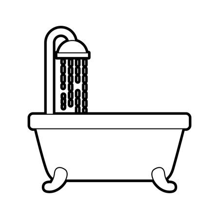 욕조 샤워 깨끗한 위생 인테리어 세라믹 아이콘 벡터 일러스트 레이션 일러스트