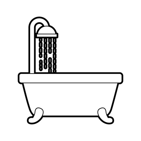 bathtub shower clean hygiene interior ceramic icon vector illustration