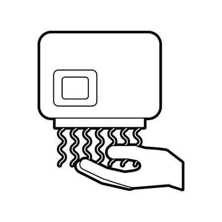 hand droger automatische schone apparatuur pictogram vectorillustratie Stock Illustratie