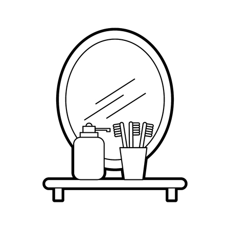 bathroom mirror and shelf with toothbrush soap vector illustration Illusztráció