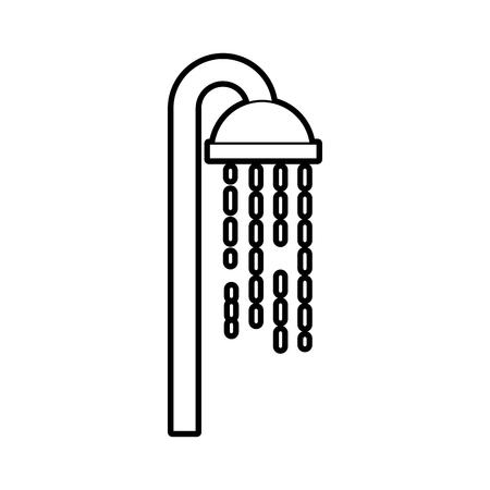 Soffione doccia in bagno con gocce d & # 39 ; acqua che scorre illustrazione vettoriale Archivio Fotografico - 88187019