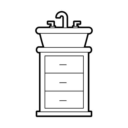 シンク洗面化粧台キャビネット家具のベクトル図とバスルームのインテリア