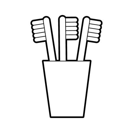 ガラスきれいな風呂凹みデザイン ベクトル イラストの歯ブラシ
