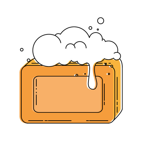 bar soap with foam vector illustration design
