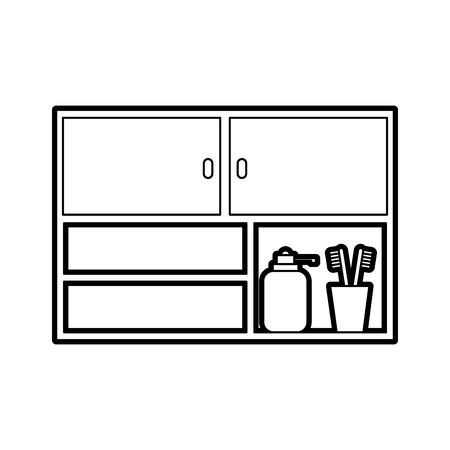 bathroom modular furniture towels other accessories vector illustration Illustration