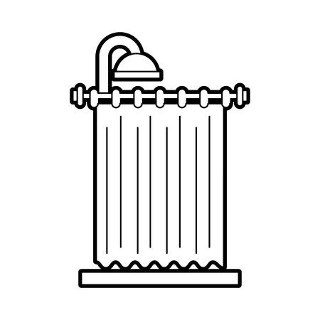 shower curtain clean interior element for bathroom vector illustration Illustration