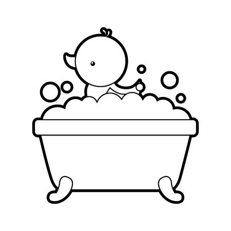 욕조와 오리 깨끗한 위생 인테리어 세라믹 아이콘 벡터 일러스트 레이션