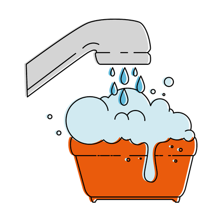 plastic pot with foam and water tap vector illustration design