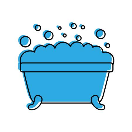 badkuip schuim bubbels schone hygiëne interieur keramische pictogram vectorillustratie