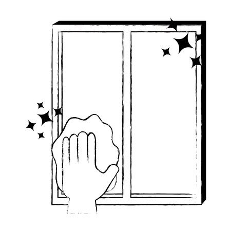 hand wiping window with cloth vector illustration design