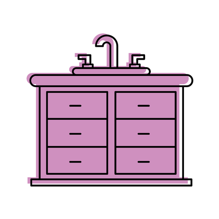 bathroom interior with sink vanity cabinet furniture vector illustration