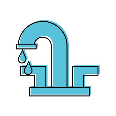 水道の蛇口ドロップ浴室アイコン ベクトル図  イラスト・ベクター素材