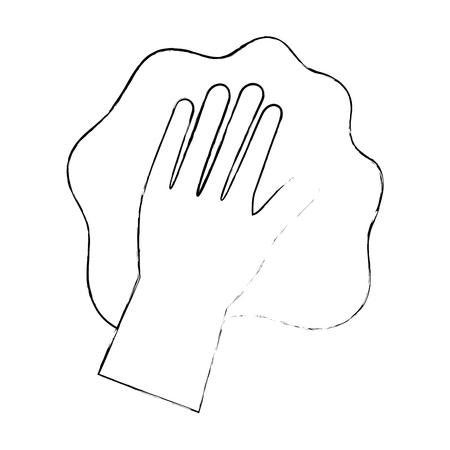 hand afvegen met handschoen vector illustratie ontwerp