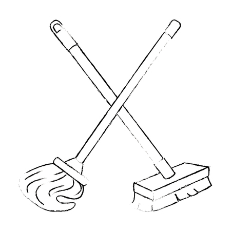 mop and brush icon vector illustration design Stock fotó - 88188470