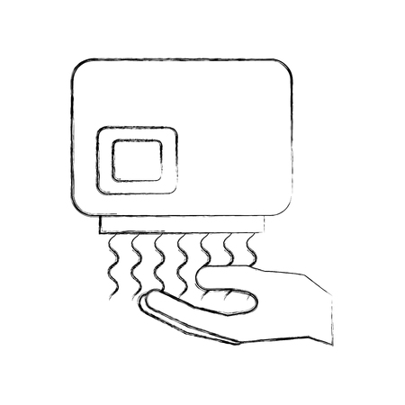 hand dryer automatic clean equipment icon vector illustration