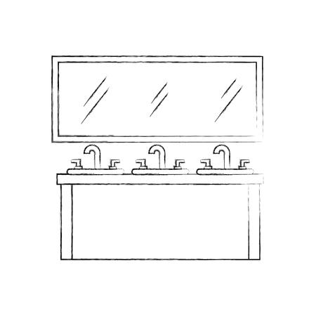 bathroom interior with sink mirror vanity cabinet furniture vector illustration