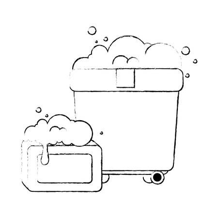 plastic pot with foam and bar soap vector illustration design
