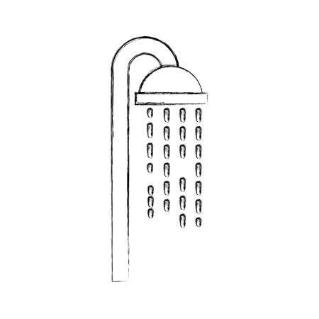 Soffione doccia in bagno con gocce d'acqua che scorre illustrazione vettoriale Archivio Fotografico - 88188484