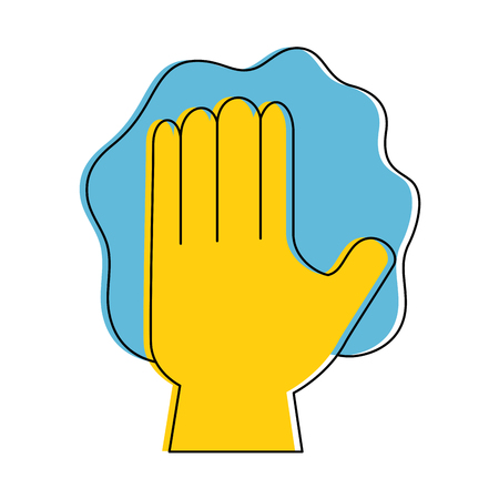 wiping: hand wiping with glove vector illustration design