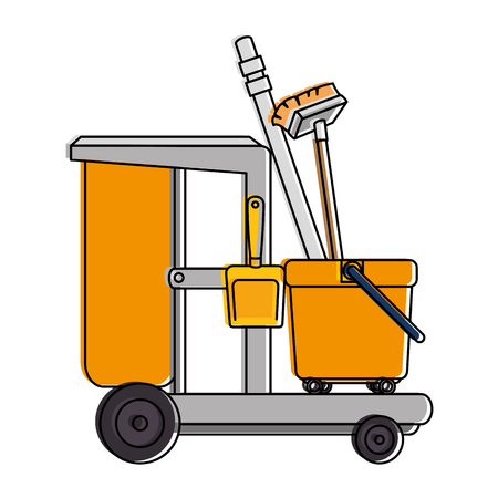 toilet trolley with broom and dustpan vector illustration design