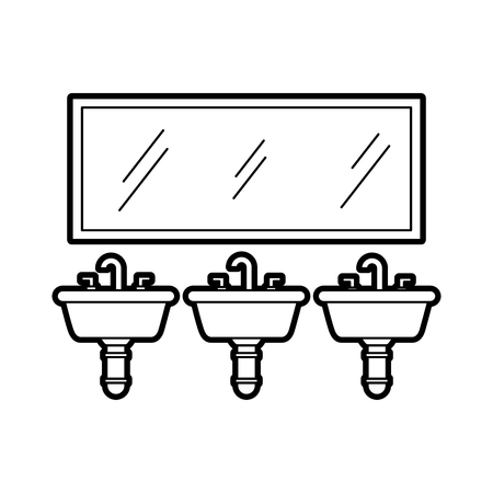 three sink mirror for toilet bathroom equipment vector illustration