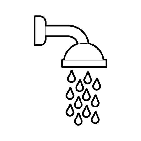 Duschkopf im Badezimmer mit Wasser fällt Vektor-Illustration Vektorgrafik