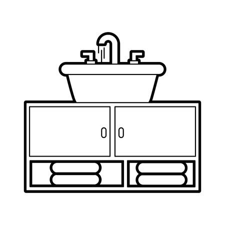 Badezimmerinnenraum mit Waschbecken Schrank Möbel Vektor-Illustration Standard-Bild - 88188529