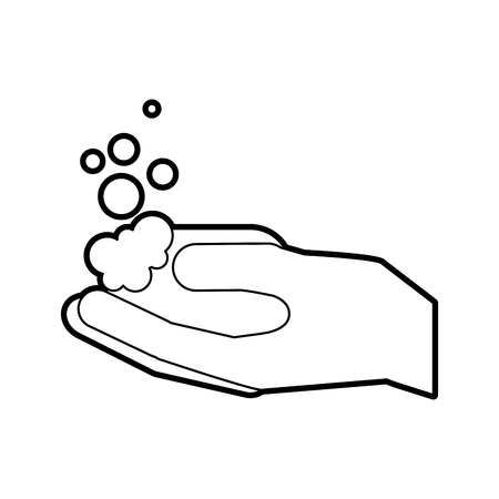 bathroom hand holding soap bubbles  hygiene vector illustration