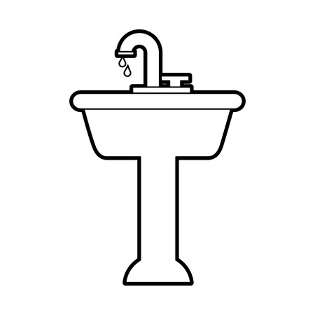 home sink for toilet bathroom ceramic vector illustration