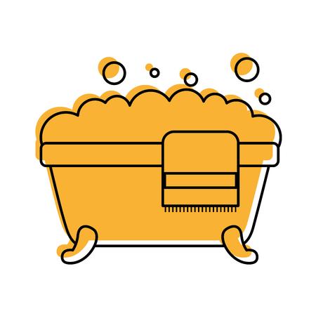 badkuip handdoek schuim zeep schone hygiëne interieur keramische pictogram vectorillustratie