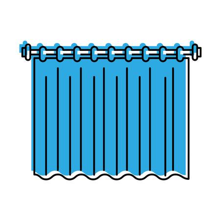 douchegordijn schoon interieurelement voor badkamer vectorillustratie