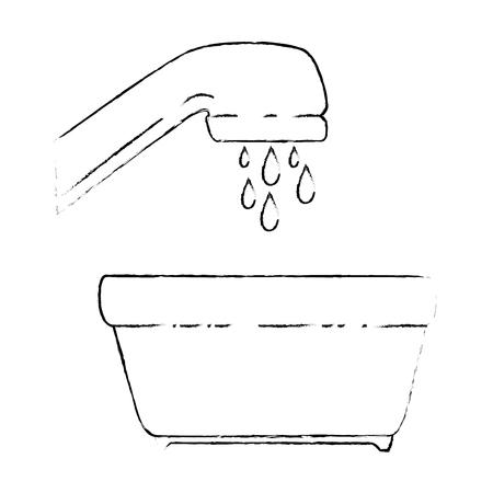 プラスチック鍋と泡と水タップベクトルイラストデザイン  イラスト・ベクター素材