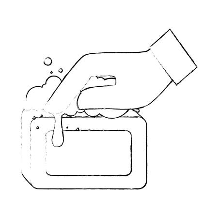 Mano con diseño de ilustración de vector de jabón de barra Foto de archivo - 88189169