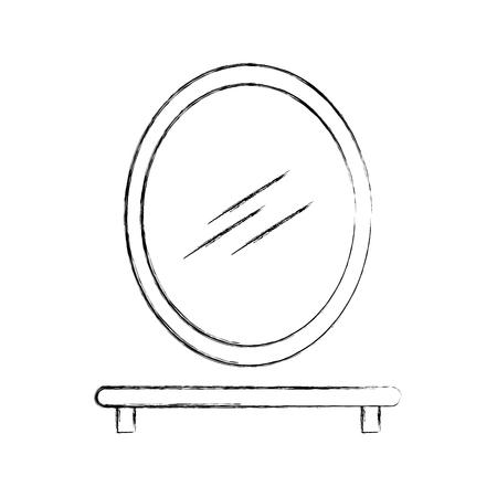 bathroom mirror and shelf wooden icon vector illustration